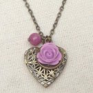 Handmade  LOCKET PENDANT PURPLE JADE RESIN FLOWER NECKLACE