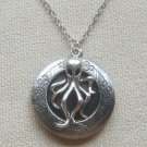 Handmade  ROUND LOCKET & SILVER OCTOPUS CHARM NECKLACE