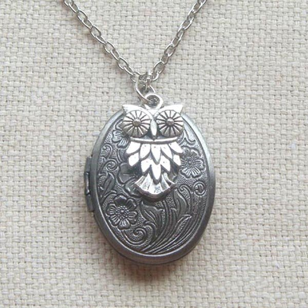Handmade FLORAL LOCKET & SILVER OWL CHARM NECKLACE.