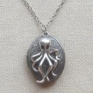 Handmade OCTOPUS CHARM & FLORAL LOCKET NECKLACE