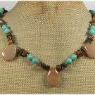 Handmade HONEY JADE TURQUOISE TIGER EYE NECKLACE