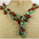 Handmade TURQUOISE RED ORANGE AGATE RUSSIAN AMAZONITE NECKLACE