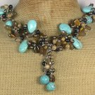 Handmade TURQUOISE AGATE PICTURE JASPER TIGER EYE PEARLS NECKLACE