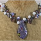 Handmade MURANO GLASS CORAL AGATE CAT EYE PEARLS NECKLACE