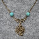 Handmade TREE IN THE RING & TURQUOISE NECKLACE