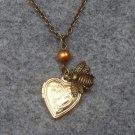 Handmade  HEART LOCKET & LITTLE BEE & FRESH WATER PEARL NECKLACE