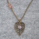 Handmade FILLIGREE LEAF PENDANT & PINK CRYSTAL NECKLACE