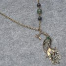 Handmade PEACOCK PENDANT GREEN JADE BLACK AGATE NECKLACE