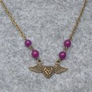 Handmade FLYING HEART & PURPLE JADE NECKLACE