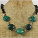 Handmade AFRICAN TURQUOISE BLACK AGATE CRYSTAL NECKLACE