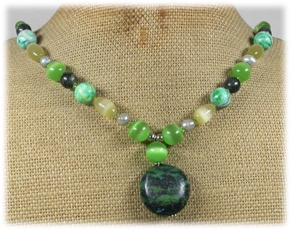 Handmade AFRICAN TURQUOISE LABORADITE CAT EYE PEARLS NECKLACE