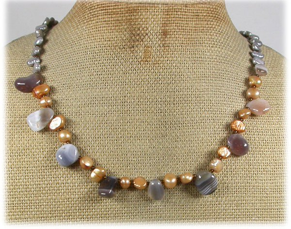 Handmade LACE AGATE & FRESH WATER PEARLS NECKLACE