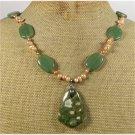 Handmade RHYOLITE GREEN JADE FRESH WATER PEARLS NECKLACE