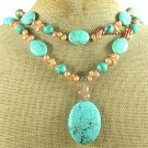 Handmade GREEN TURQUOISE & FRESH WATER PEARL 2ROW NECKLACE