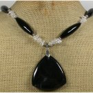 Handmade BLACK AGATE WHITE JADE CLEAR QUARTZ NECKLACE