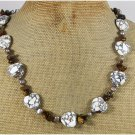 Handmade WHITE AFRICAN TURQUOISE TIGER EYE PEARLS NECKLACE