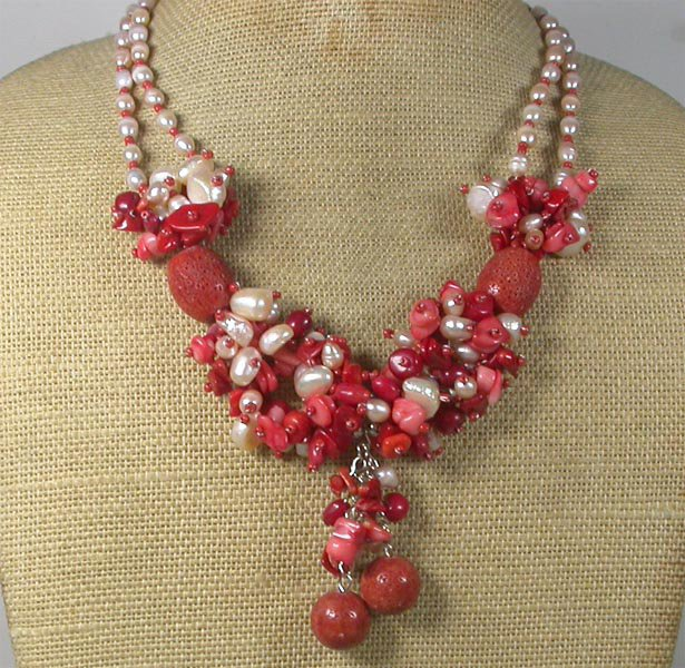 Handmade RED PINK CORAL FRESH WATER PEARLS NECKLACE