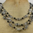 Handmade RUTILATED QUARTZ & BLACK AGATE 3ROW NECKLACE