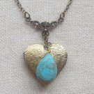 Handmade  HEART LOCKET & TURQUOISE NECKLACE