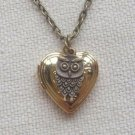 Handmade HEART LOCKET & LITTLE OWL CHARM NECKLACE