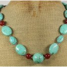 Handmade TURQUOISE & RED AGATE NECKLACE
