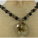 Handmade TIGER QUARTZ BLACK AGATE SMOKY QUARTZ NECKLACE