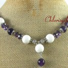 Handmade WHITE CORAL PURPLE JADE CRYSTAL NECKLACE
