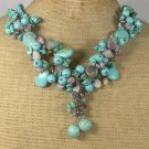 Handmade TURQUOISE LACE AGATE PEARLS NECKLACE