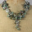 Handmade FANCY JASPER RUTILATED JASPER SMOKY CRYSTAL PEARLS NECKLACE