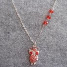 Handmade LITTLE OWL & RED CRYSTAL NECKLACE