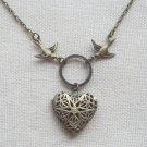 Handmade  FILLIGREE HEART LOCKET PENDANT & SWALLOW BIRDS NECKLACE