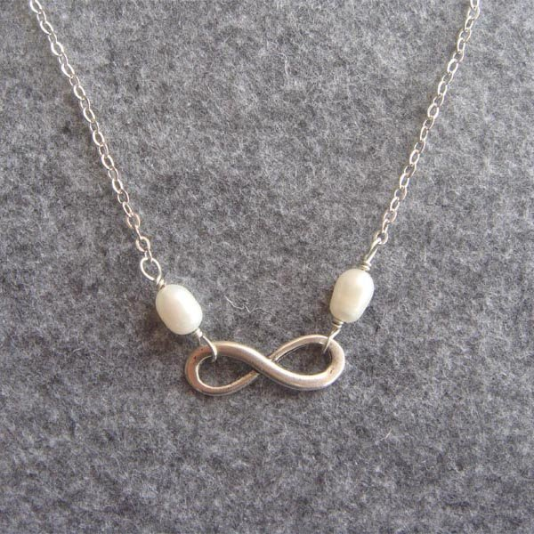 Handmade INFINITY CHARM & FRESH WATER PEARLS NECKLACE