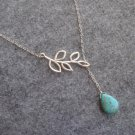 Handmade TURQUOISE DROP & LEAF NECKLACE