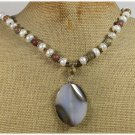Handmade BROWN AGATE MUGER JASPER FRESH WATER PEARLS NECKLACE