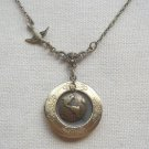 Handmade  ROUND LOCKET PENDANT SWALLOW BIRD EARTH CHARM NECKLACE