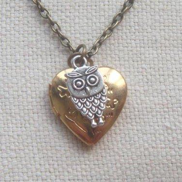 Handmade  HEART LOCKET PENDANT & LITTLE OWL CHARM NECKLACE