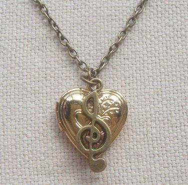 Handmade  HEART LOCKET PENDANT & MUSIC NOTE CHARM NECKLACE