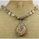 Handmade NATURAL PICTURE JASPER KEY CHARM NECKLACE