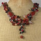 Handmade AGATE RED JADE FRESH WATER PEARLS NECKLACE