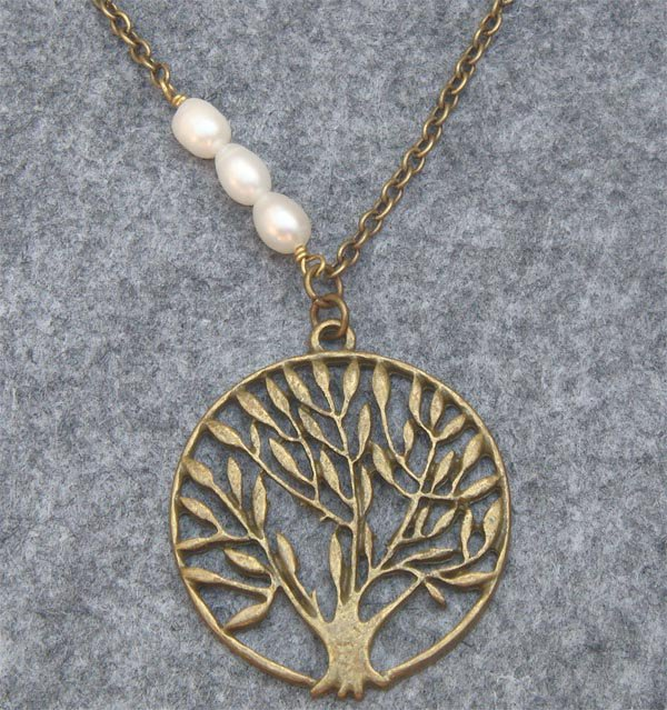 Handmade TREE PENDANT & FRESH WATER PEARL NECKLACE