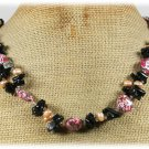 Handmade RED AFRICAN TURQUOISE BLACK AGATE FW PEARLS NECKLACE