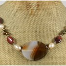 Handmade BROWN AGATE IMPERIAL JASPER FW PEARLS NECKLACE