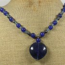 Handmade TANZANITE QUARTZ BLUE JADE FRESH WATER PEARLS NECKLACE