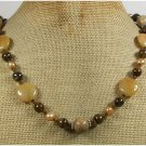 Handmade YELLOW JADE TIGER EYE PICTURE JASPER PEARLS NECKLACE