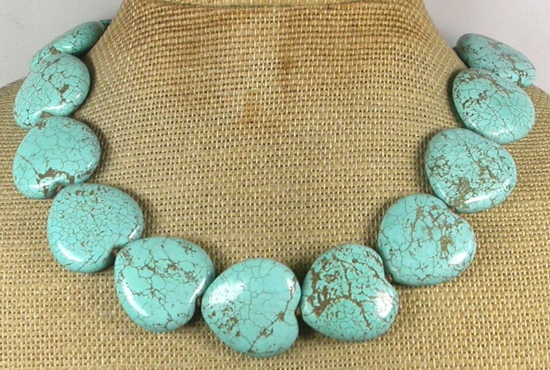 Handmade HUGE TURQUOISE HEARTS HAND KNOT NECKLACE