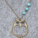 Handmade OWL PENDANT & TURQUOISE NECKLACE