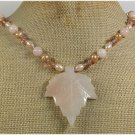 Handmade PINK AVENTURINE LEAF CRYSTAL FW PEARLS NECKLACE