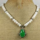 Handmade GREEN JADE & FRESH WATER WHITE PEARLS NECKLACE