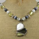 Handmade PAUA ABALONE & CAT EYE & CRYSTAL NECKLACE