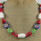 Handmade FLOWER CLOISONNE WHITE RED CORAL TURQUOISE NECKLACE
